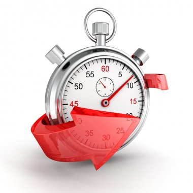 Fast delivery icon. Stopwatch with red arrow on a white background stock vector