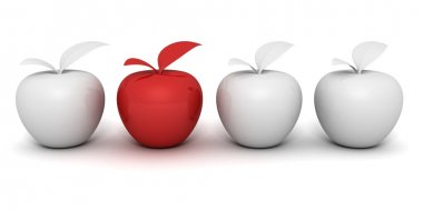 Red different apple in white