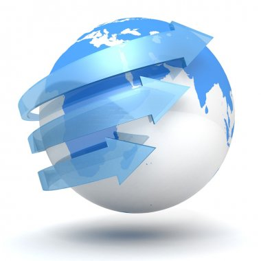 Business concept with blue globe sphere and arrows