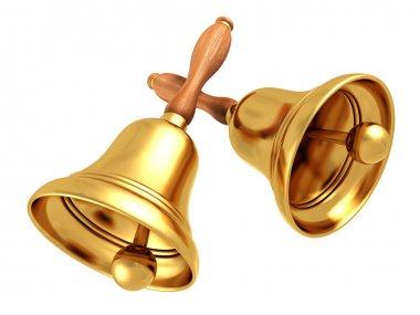 Two vintage retro school bells
