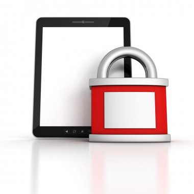 Secure Tablet PC with red locked padlock