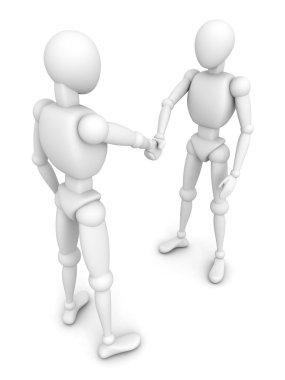 3d human figures handshaking