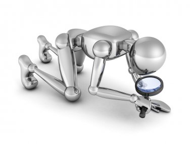 3d man crawling  with magnifying glass