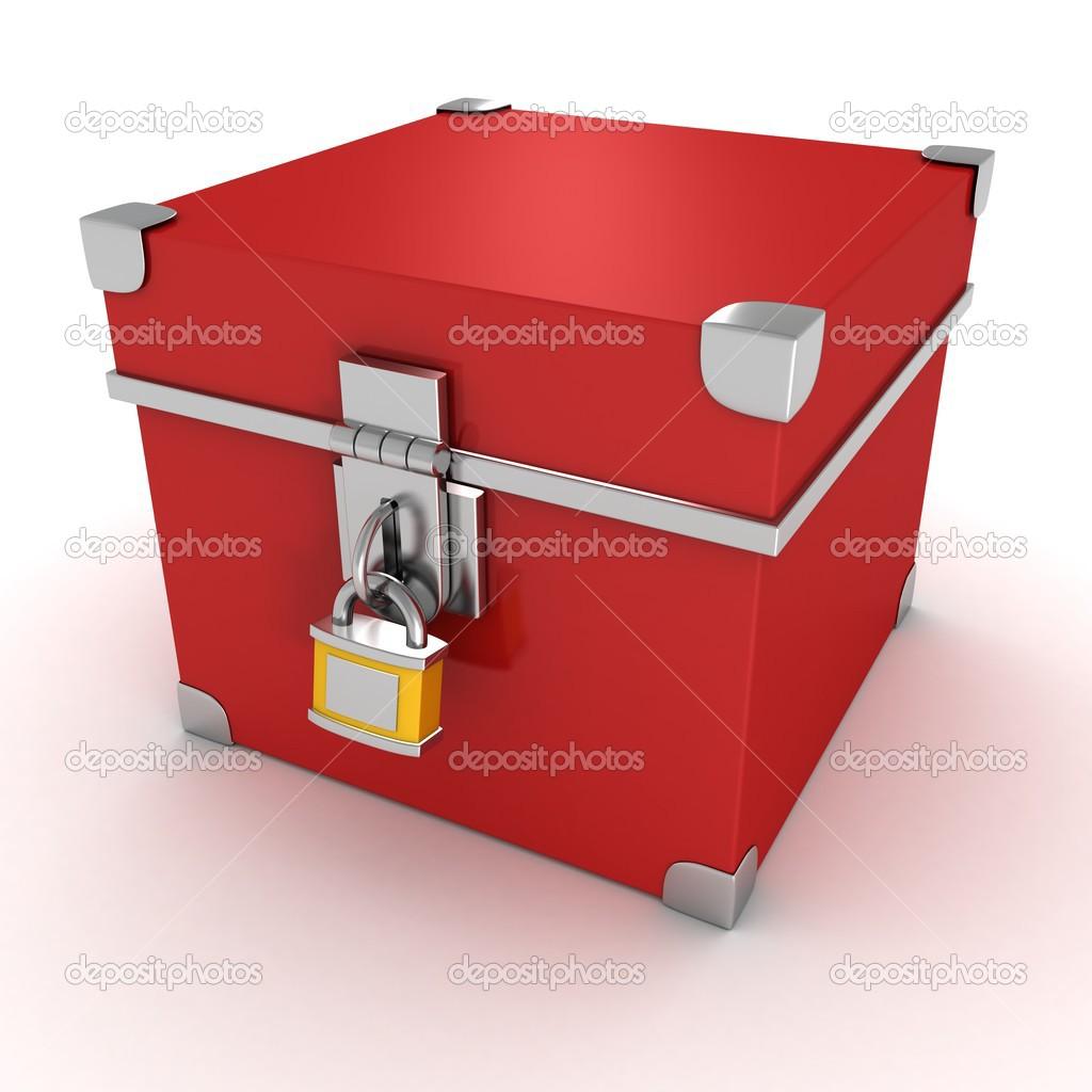 bo te vintage rouge avec cadenas jaune photographie versusstudio 46328199. Black Bedroom Furniture Sets. Home Design Ideas