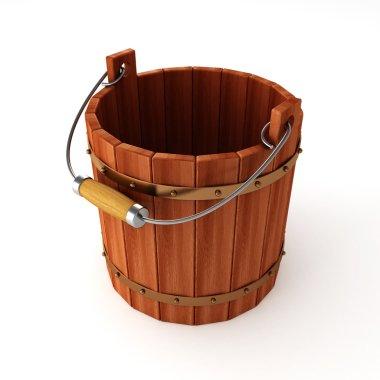 Empty wooden bucket