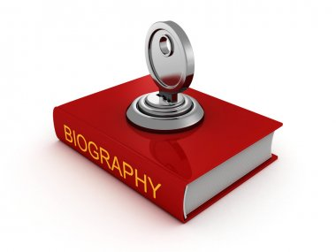 Biography book with lock key.