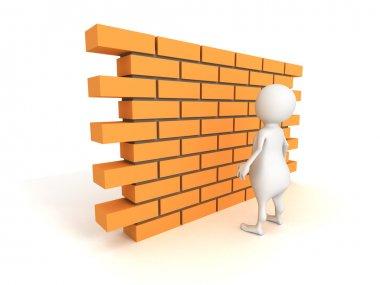 3d man with brick wall