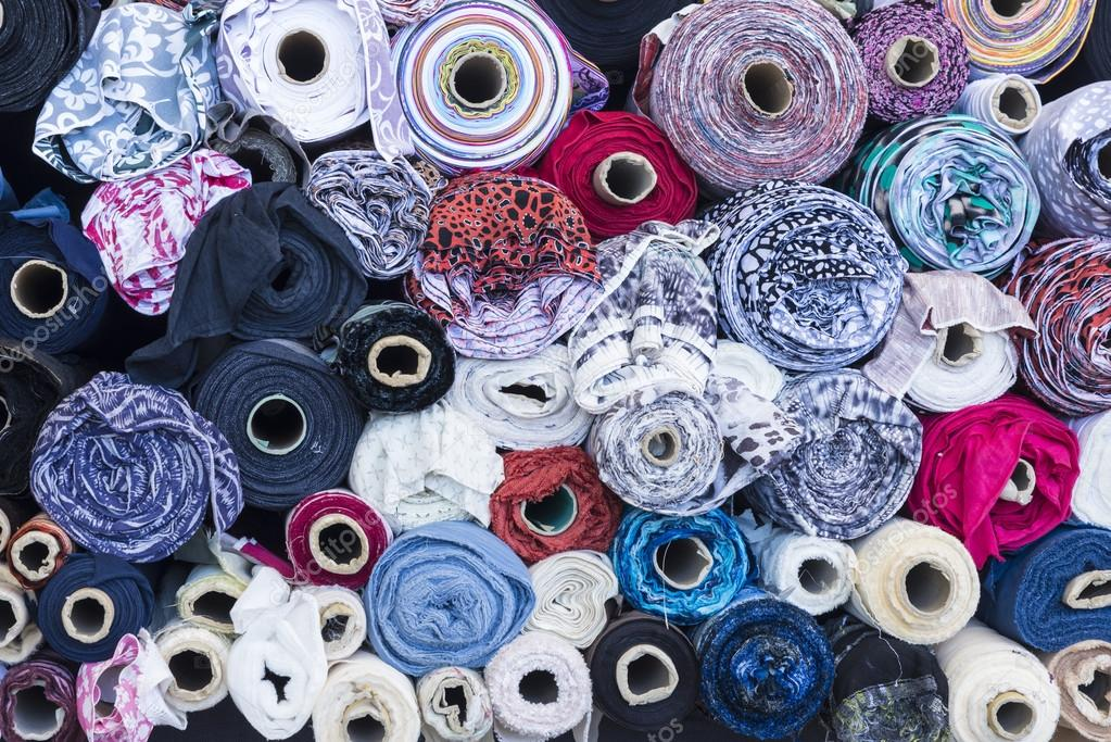 Textile rolls in the Fabric Shop
