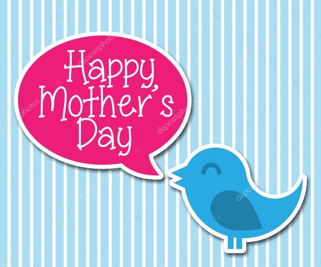 a79afd8575223 Cartão de desejo da mãe feliz dia do vetor com pássaro bonito — Vetor de  penxelstudio