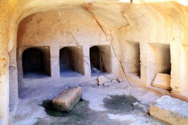Tombs of the Kings, Paphos, Cyprus are a 4th century BC necropolis, of burial chambers of the Roman Hellenic period carved from sandstone, only high ranking officials were buried there and no kings stock vector
