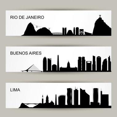 City skyline banners illustration clip art vector