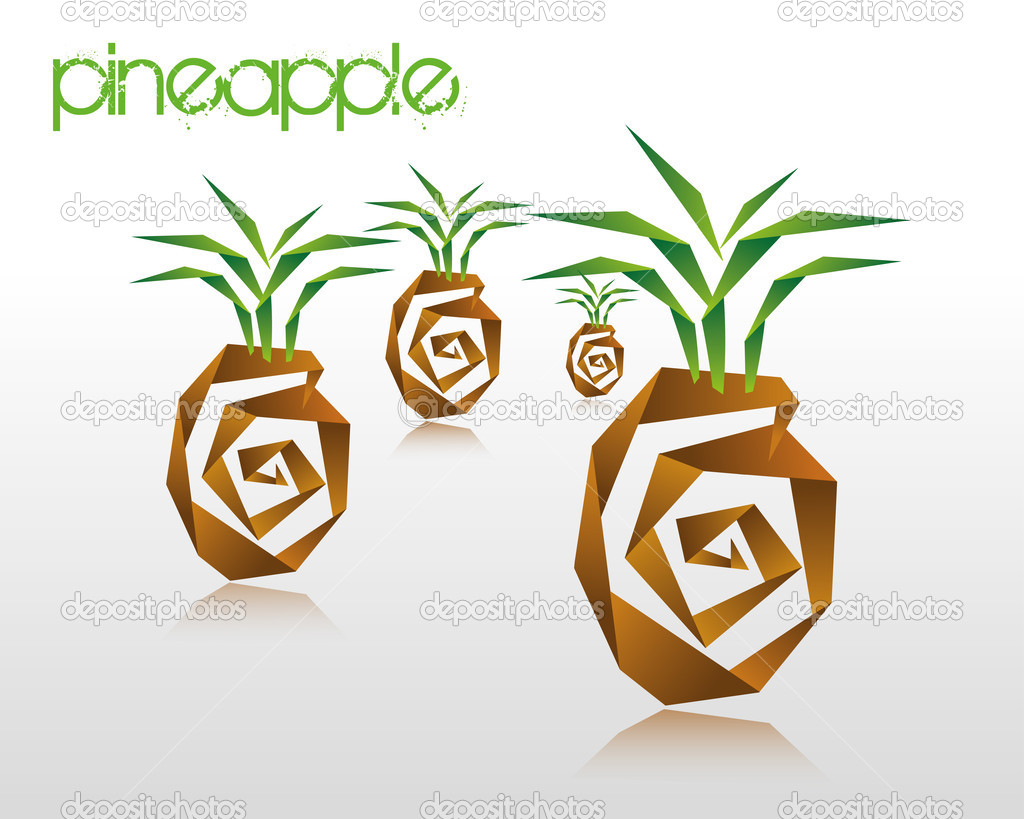 Origami Pineapple Stock Vector Itrovic 46548947
