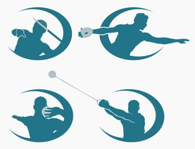 Set of throwing sports symbols