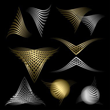 Golden and silver abstract line symbols