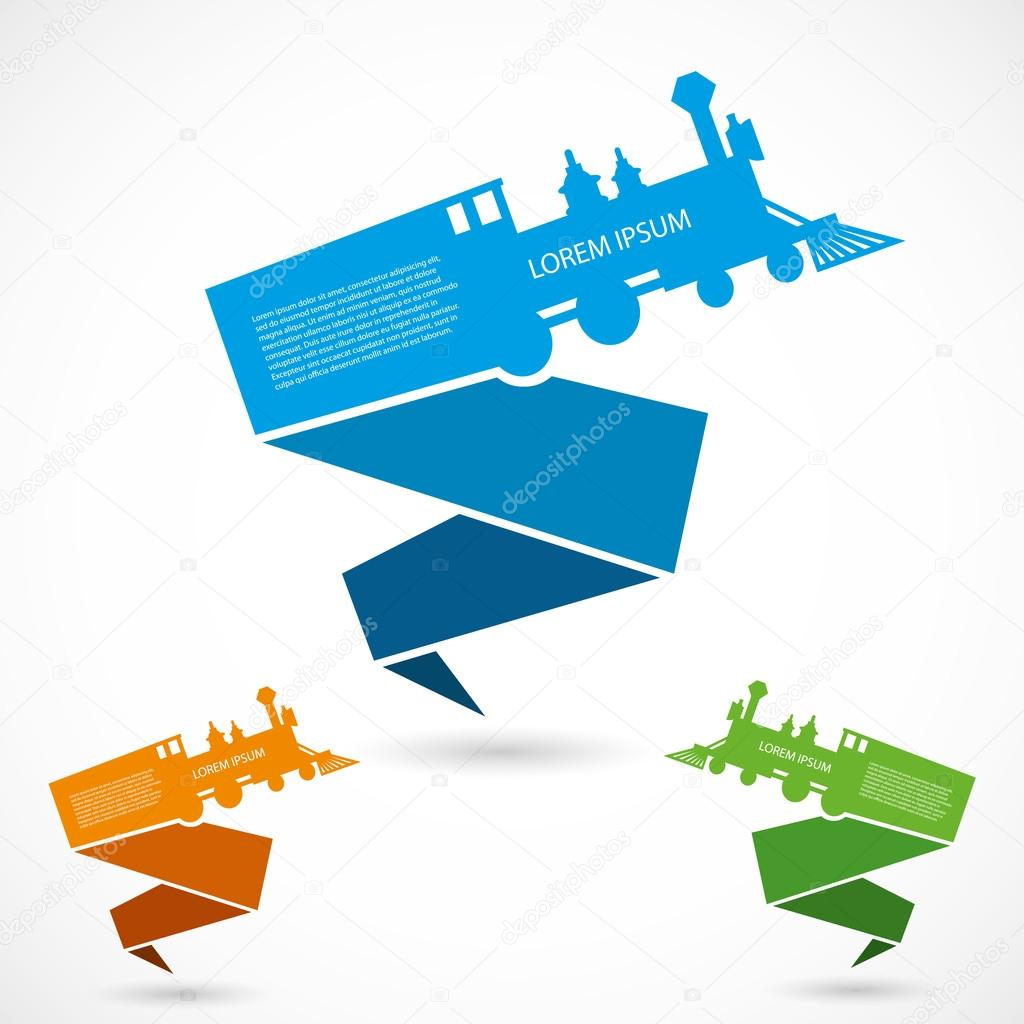 Old Train Origami Banners Stock Vector