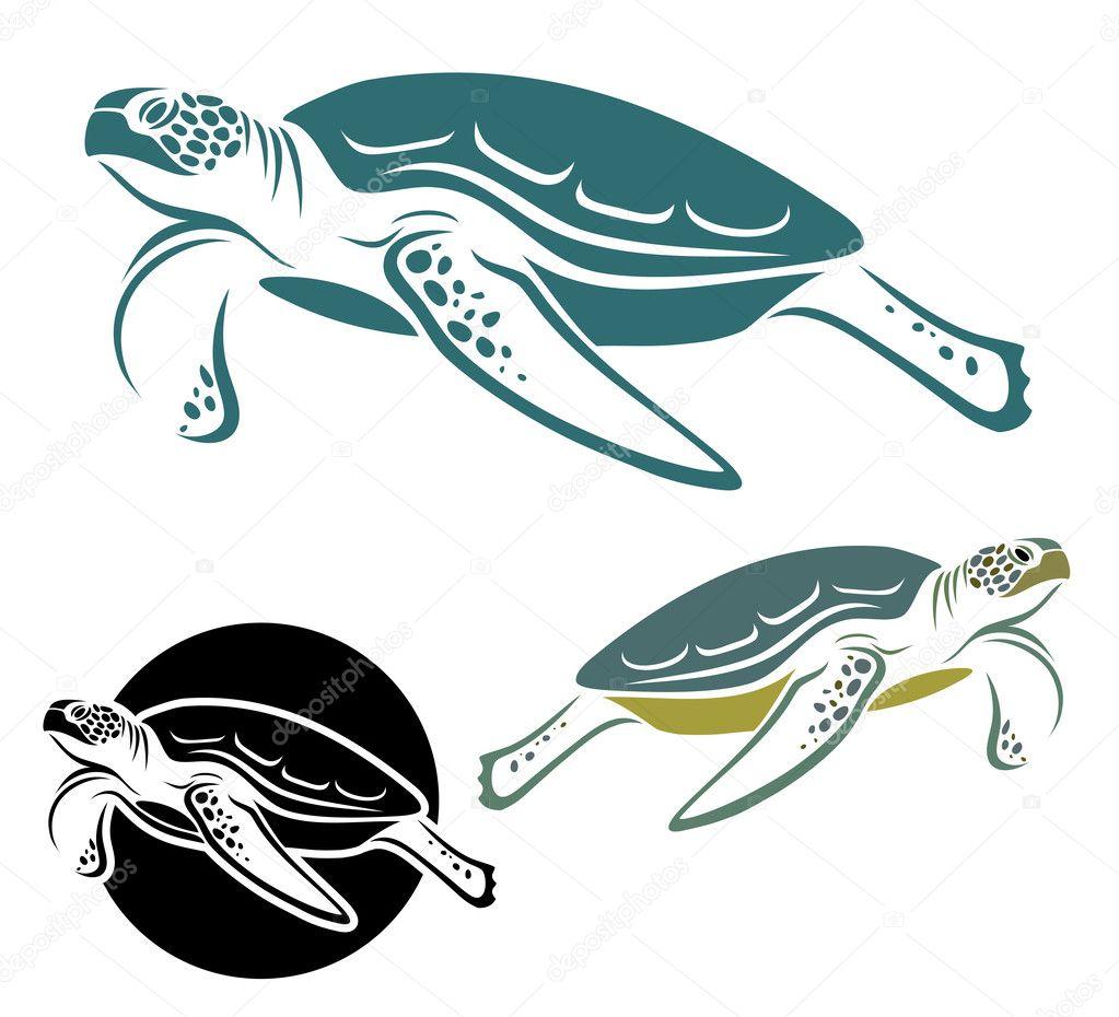 Sea turtle label