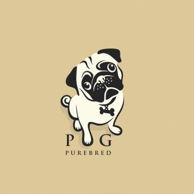 Pug dog  illustration clip art vector