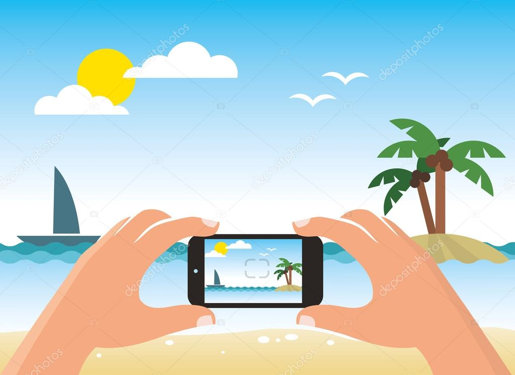 Photographing beach by smart phone