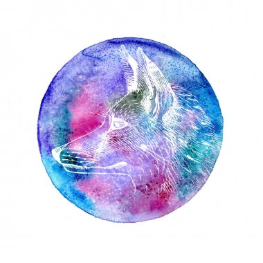 Fox and watercolor cosmic circle.