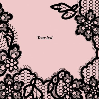 Black lace background with a place for text.