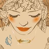 paní podzim s zlatý přívěsek.