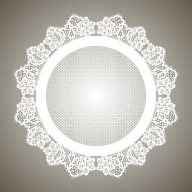 Realistic round lacy white napkin.