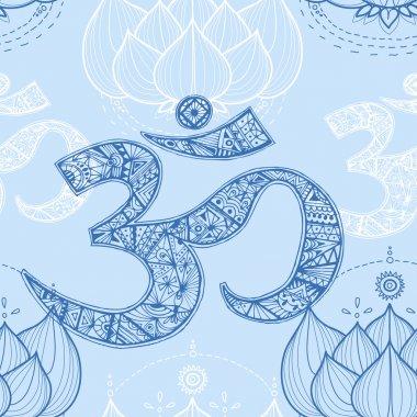 Ohm. Om Aum Symbol and lotus.
