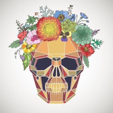 Polygonal human skull and flower wreath.