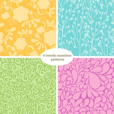 4 trendy seamless patterns.