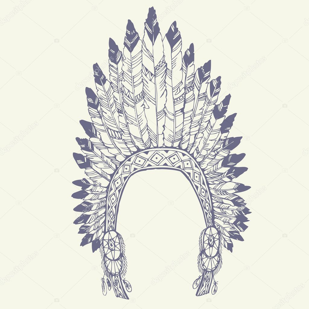 Native american indian chief headdress — Stock Vector © olgamoopsi ...