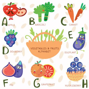 Very cute alphabet  of fruit and vegetables.