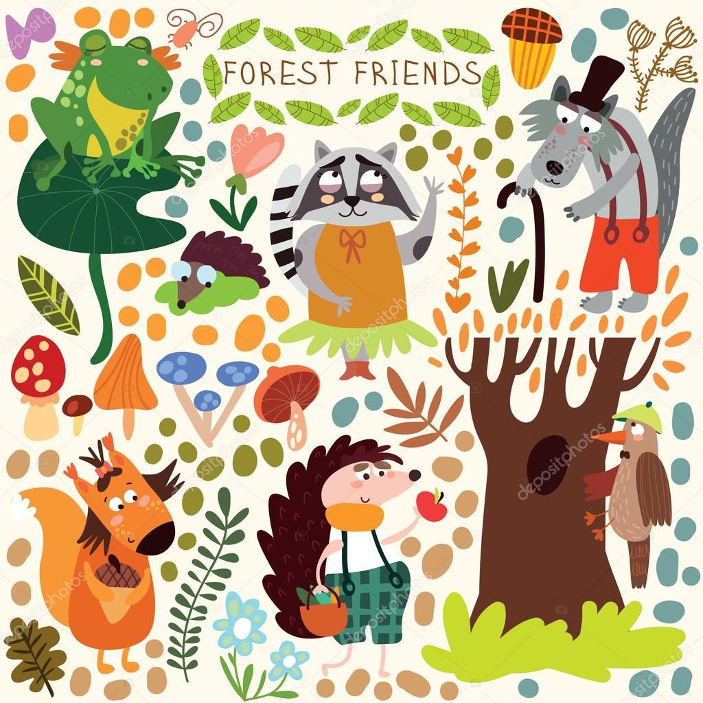 かわいい森と森の動物ををベクトルします。リス、カエル — ストック