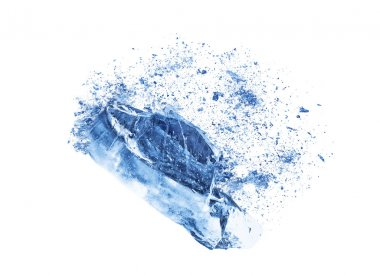 Collision explosion texture of blue ice pieces on white background