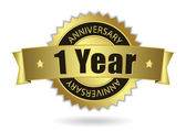 1 Years Anniversary - Golden mit Multifunktionsleiste, Vektor-Eps 10 Stempeln