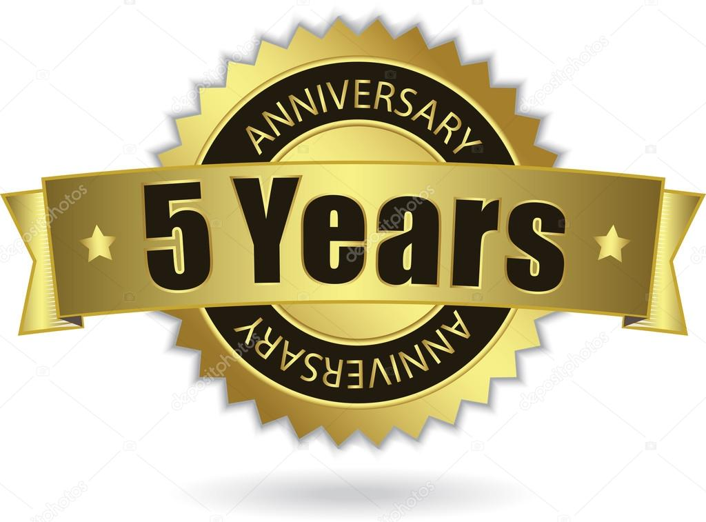 5 Years Anniversary Golden Stamp With Ribbon Vector Eps 10