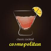 Cosmopolitan koktejl v autentických skla