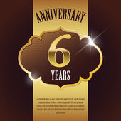 Fotografie 6 Year Anniversary - Elegant Golden Design Template , Background , Seal