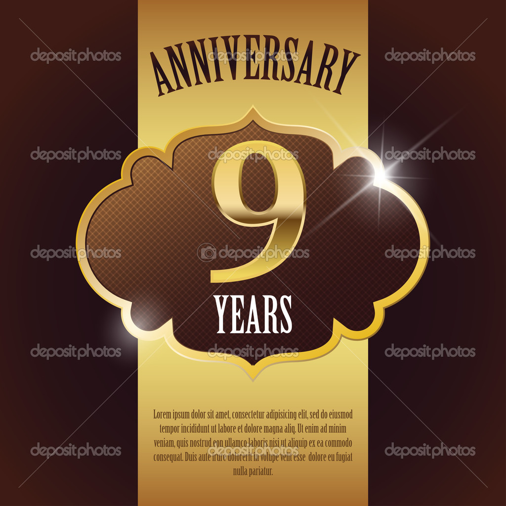 9 Year Anniversary Elegant Golden Design Template Background Seal Can Be Used For Success In Business Partnership And Marriage Premium Vector In Adobe Illustrator Ai Ai Format Encapsulated Postscript Eps Eps Format