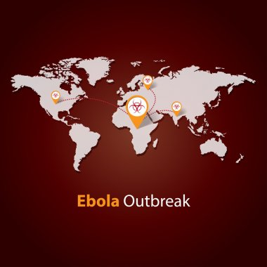 Ebola Virus outbreak on a world map. Minimalistic template design