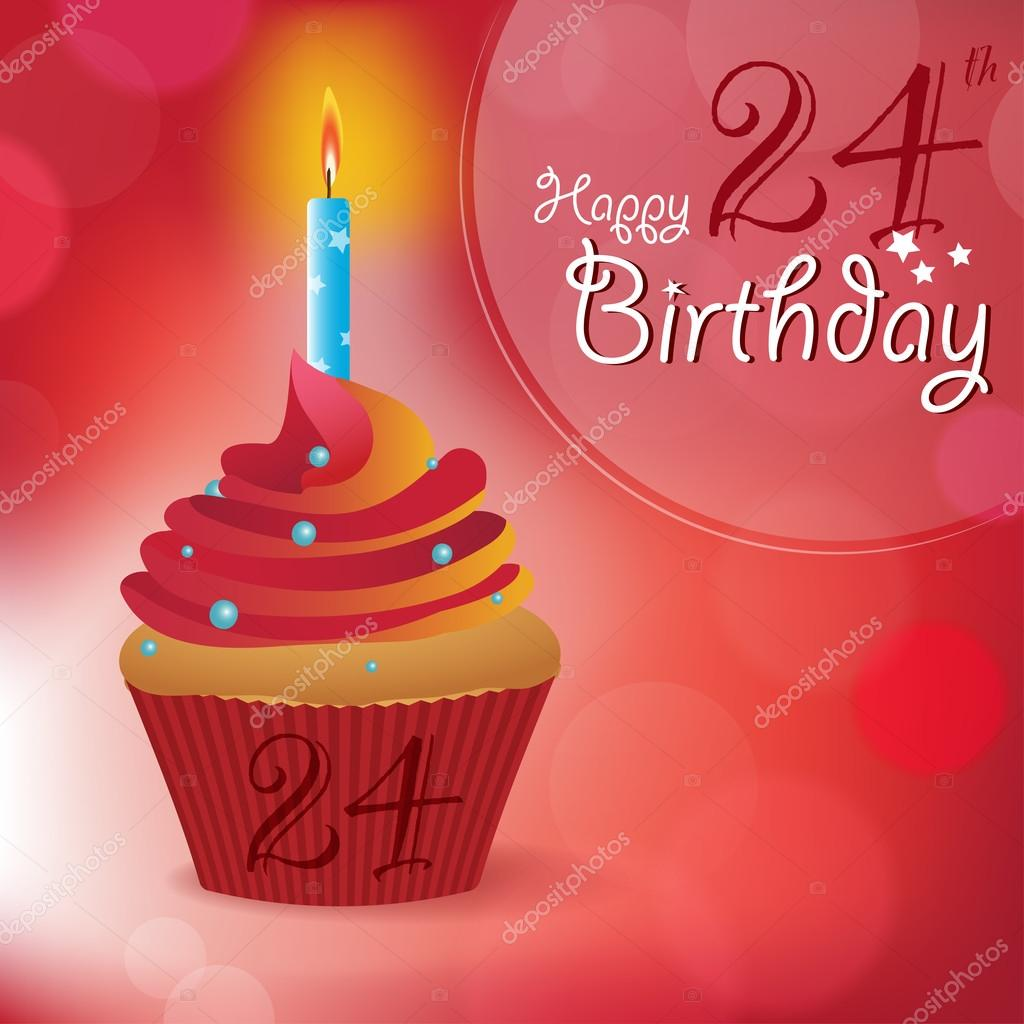 přání k 24 narozeninám 24 k narozeninám přání, pozvání, zpráva — Stock Vektor  přání k 24 narozeninám