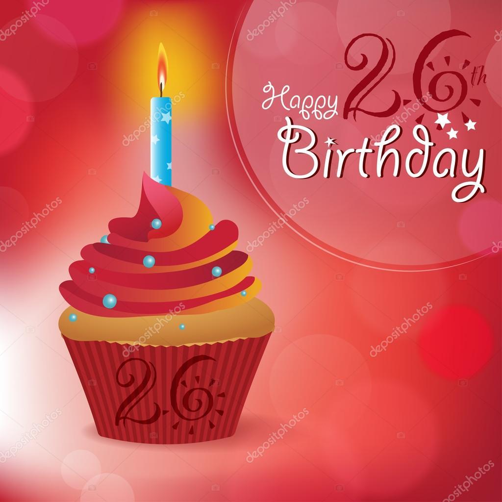 přání k 26 narozeninám 26 k narozeninám přání, pozvání, zpráva — Stock Vektor  přání k 26 narozeninám