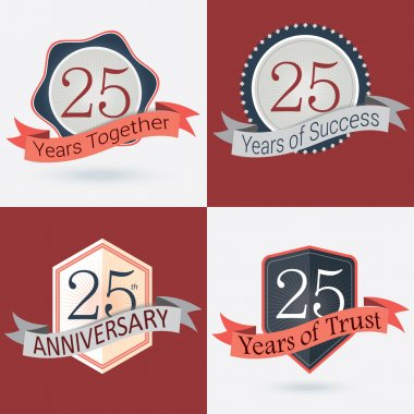 25th Anniversary , 25 years together , 25 years of Success , 25 years of trust - Set of Retro vector Stamps and Seal