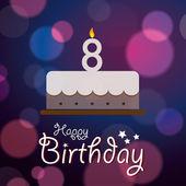 8. k narozeninám - bokeh vektorové pozadí s dortem
