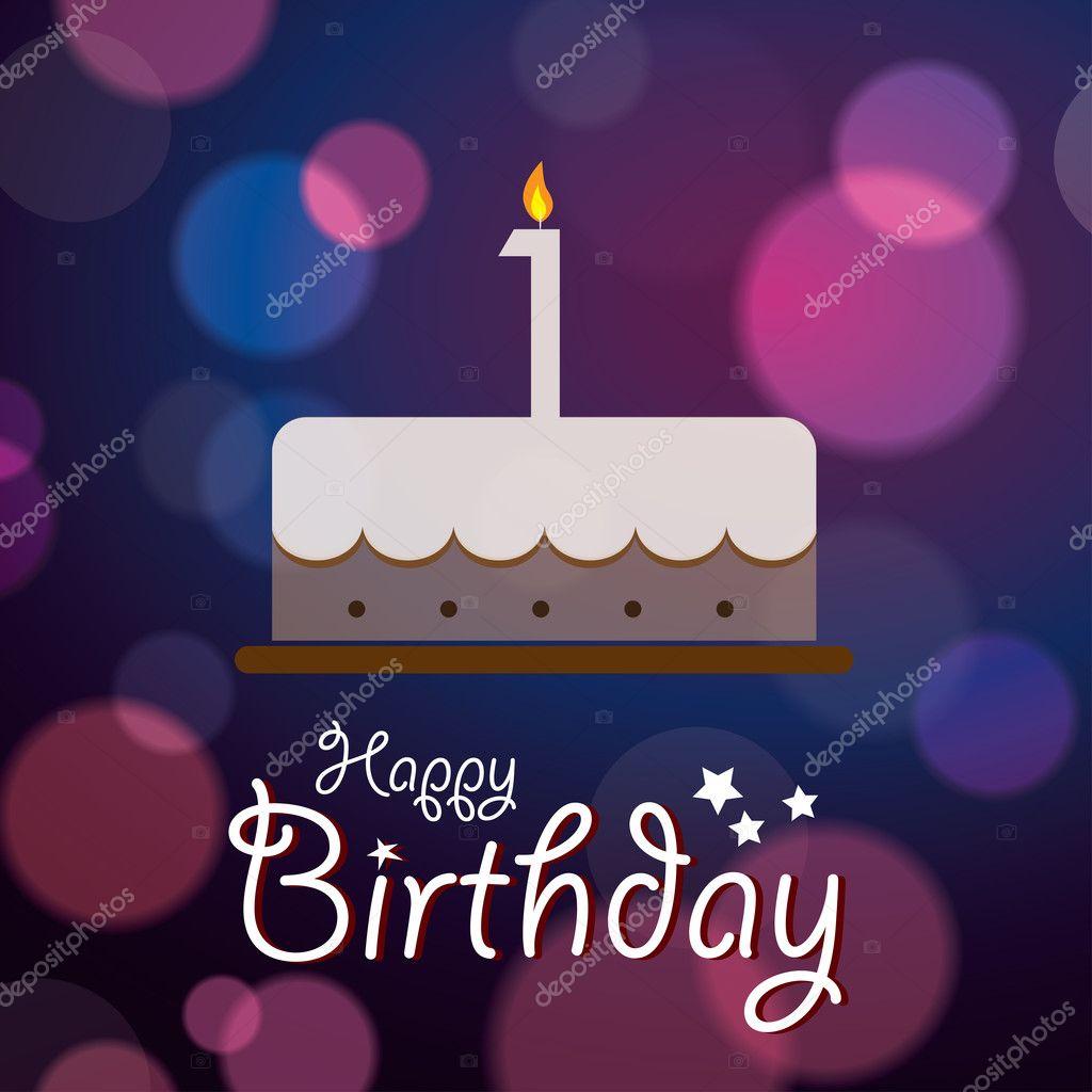 1 Geburtstag Bokeh Vector Hintergrund Mit Kuchen Stockvektor