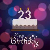 23 k narozeninám - bokeh vektorové pozadí s dortem