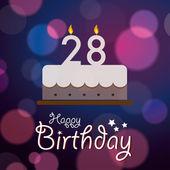 28-án boldog születésnap - Bokeh Vector háttér sütemény.