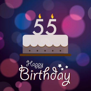 Happy 55th Birthday - Bokeh Vector Background with cake.