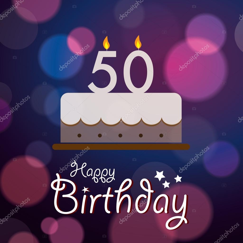 Happy 50th Birthday Bokeh Vector Background With Cake Stock