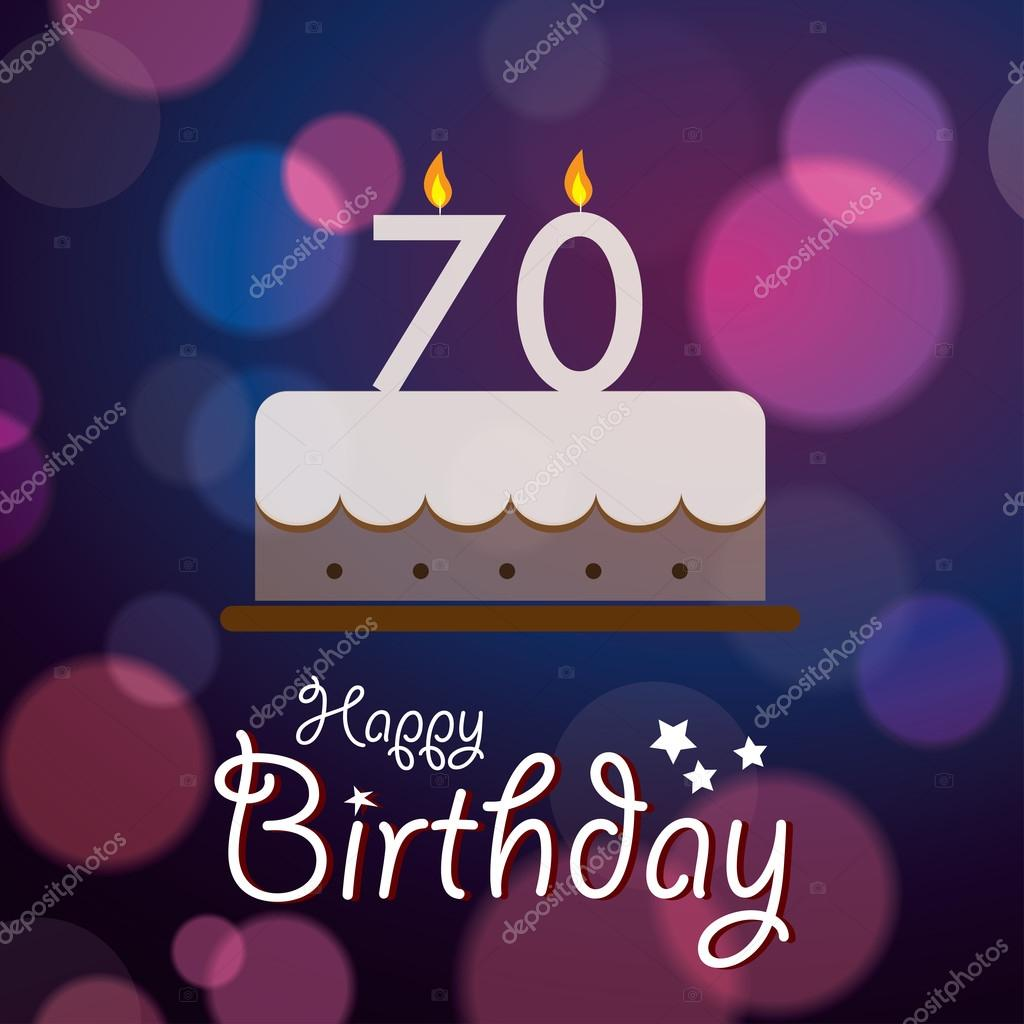 Happy 70th Birthday Bokeh Vector Background with cake Stock