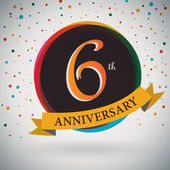 Fotografie 6th Anniversary poster, template design in retro style - Vector Background